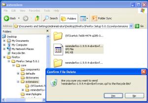 Removing .xpi file